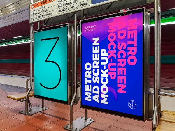 Metro Underground Advertising Screen Mock-Ups 7 (v.2)