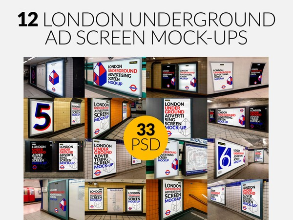 12 London Underground Ad Screen Mock-Ups Bundle