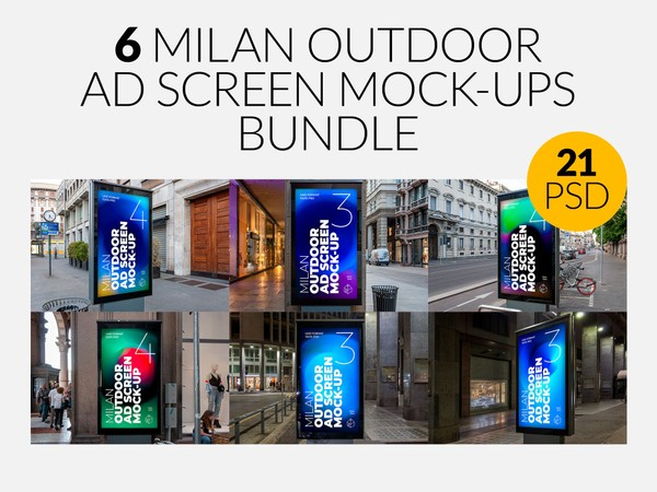 Milan Outdoor Advertising Screen Mock-Ups Bundle