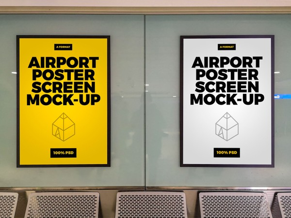 Free Airport Poster Screen Mock-Up