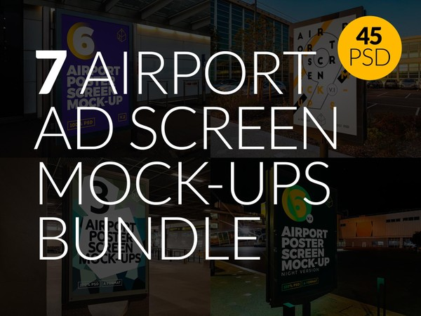 7 Airport Ad Screen Mock-Ups Bundle