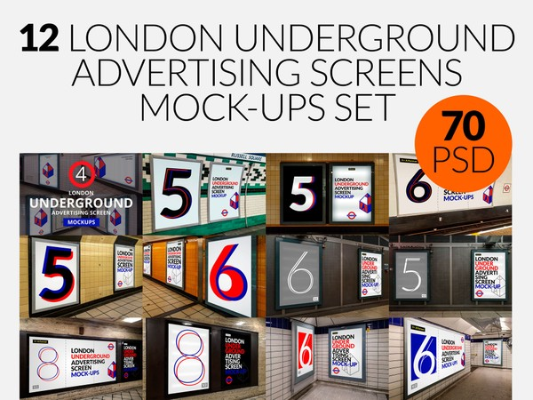 12 London Underground Advertising Screen Mock-Ups Bundle