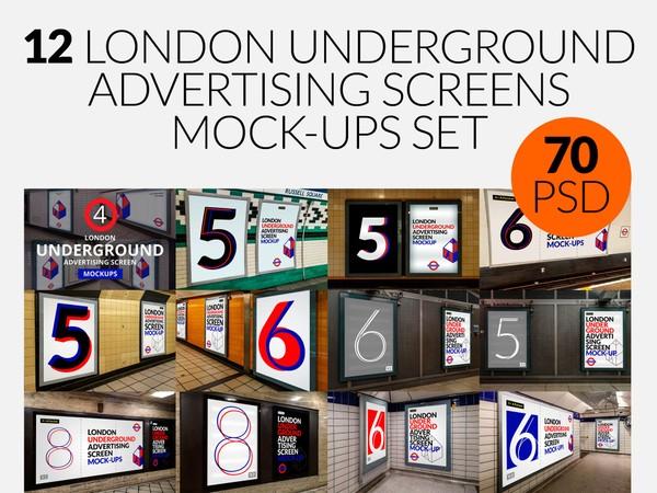 12 London Underground Advertising Screen Mock-Ups Bundle