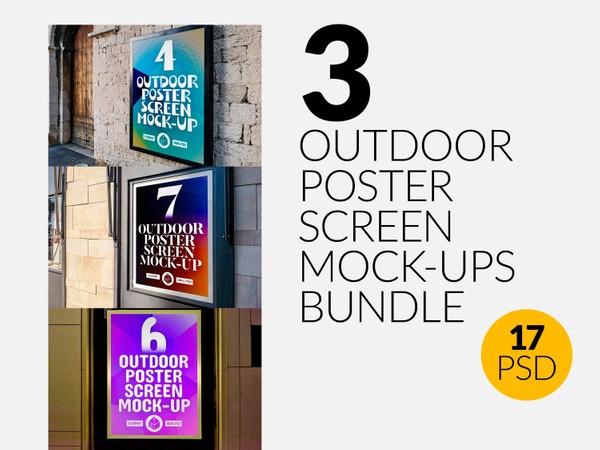 3 Outdoor Poster Screen Mock-Ups Bundle