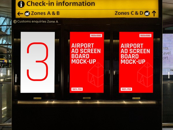 Airport Ad Screen Board Mock-Ups