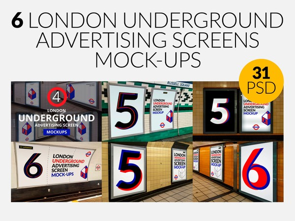 6 London Underground Advertising Screen Mock-Ups Bundle
