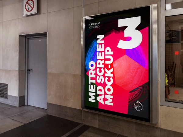 Metro Underground Advertising Screen Mock-Ups 8 (v.7)