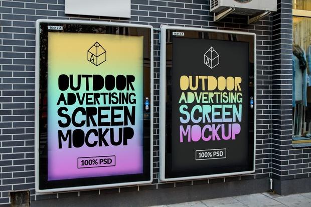 Free Outdoor Advertising Screen Mock-Up 3