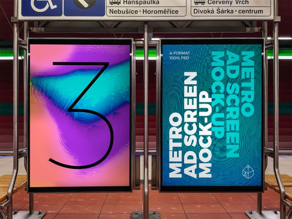 Metro Underground Advertising Screen Mock-Ups 7 (v.1)