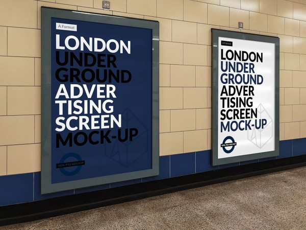 Free London Underground Advertising Screen Mock-Up 13
