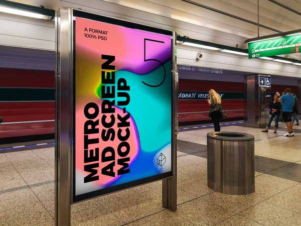 Metro Underground Advertising Screen Mock-Ups 6 (v.4)