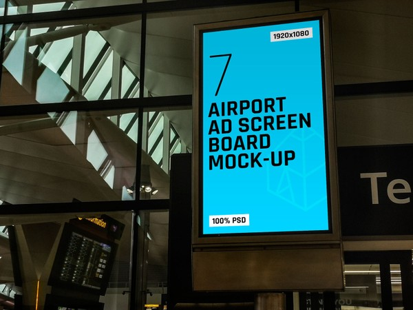 Airport Ad Screen Board Mock-Ups 2