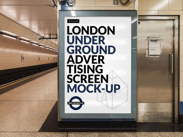 Free London Underground Advertising Screen Mock-Up 14