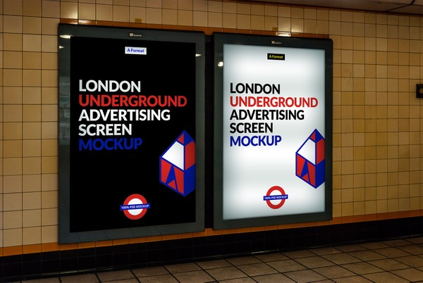Free London Underground Advertising Screen Mock-Up 3