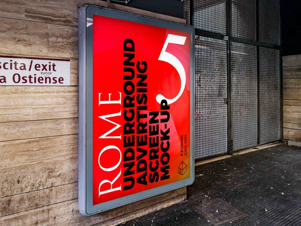 Rome Underground Advertising Screen Mock-Ups 4