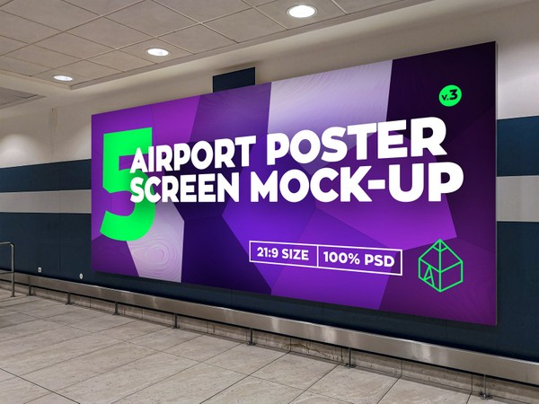 Airport Poster Screen Mock-Ups 10 v.3