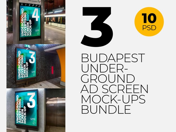 Budapest Underground Ad Screens Mock-Ups Bundle