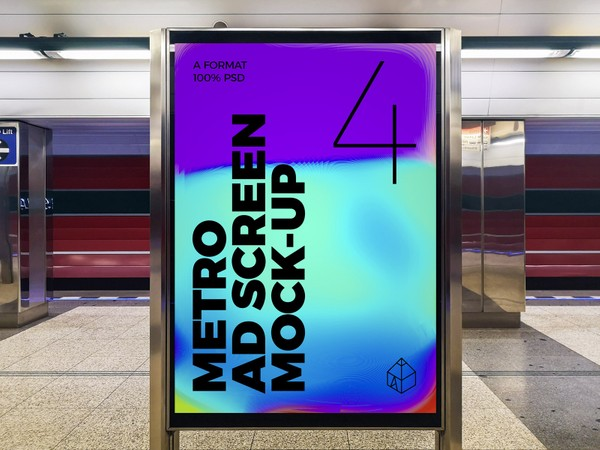Metro Underground Advertising Screen Mock-Ups 6 (v.2)