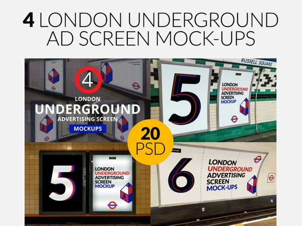 4 London Underground Ad Screen Mock-Ups Bundle