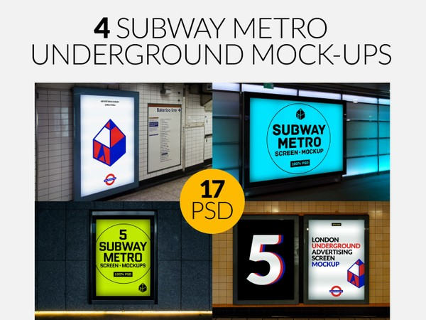 4 Subway Metro Underground Advertising Screen Mock-Ups Bundle
