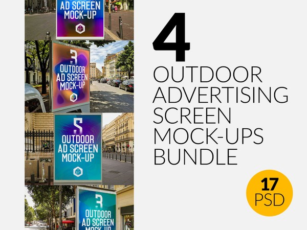 Outdoor Advertising Screen Mock-Ups Bundle 3