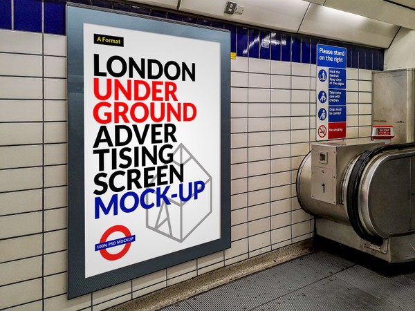 Free London Underground Advertising Screen Mock-Up 12