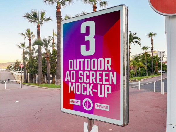Outdoor Advertising Screen Mock-Ups 6 (v.1)
