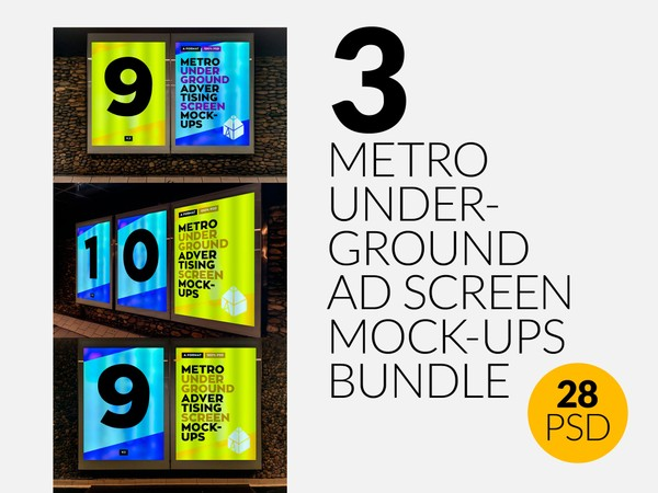 3 Metro Underground Advertising Screen Mock-Ups Bundle 2