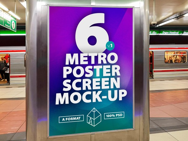 Metro Underground Advertising Screen Mock-Ups 4 (v.1)