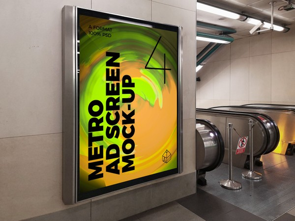 Metro Underground Advertising Screen Mock-Ups 8 (v.1)