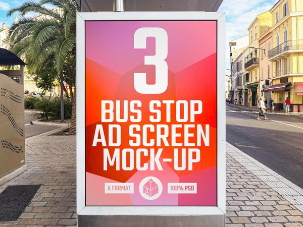 Bus Stop Advertising Screen Mock-Ups 2