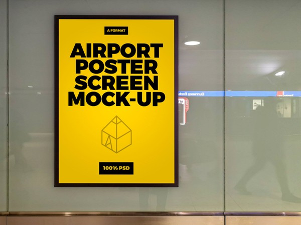 Free Airport Poster Screen Mock-Up 2