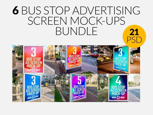 Bus Stop Advertising Screen Mock-Ups Bundle