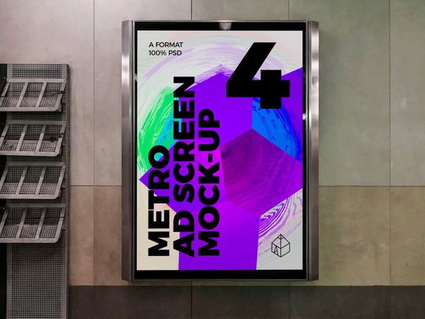 Metro Underground Advertising Screen Mock-Ups 8 (v.5)