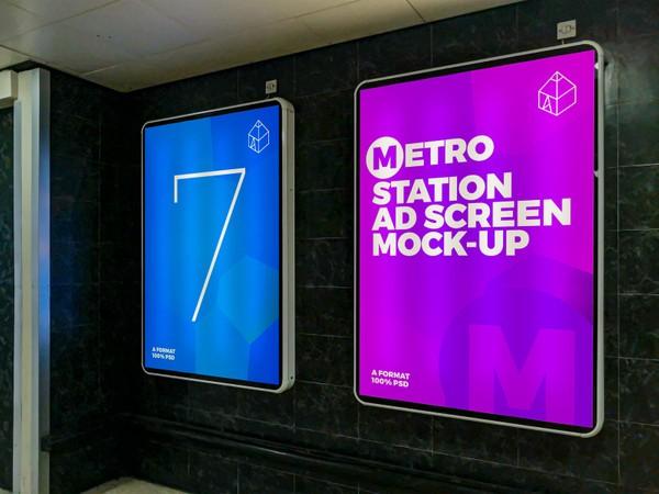Metro Station Advertising Screen Mock-Ups 3