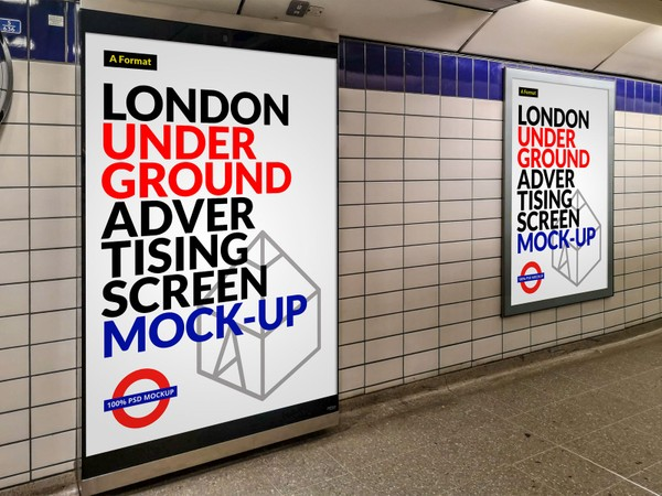 Free London Underground Advertising Screen Mock-Up 11