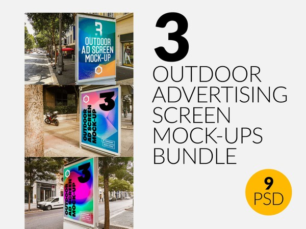 Outdoor Advertising Screen Mock-Ups Bundle 4