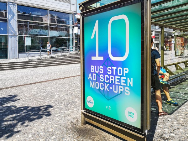 Bus Stop Advertising Screen Mock-Ups v.2