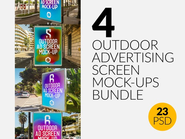Outdoor Advertising Screen Mock-Ups Bundle 2