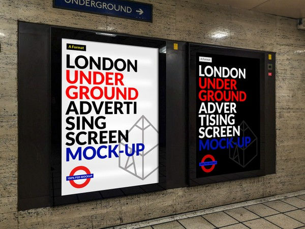 Free London Underground Advertising Screen Mock-Up 9