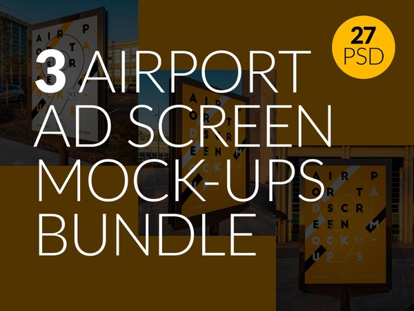 3 Airport Ad Screen Mock-Ups Bundle