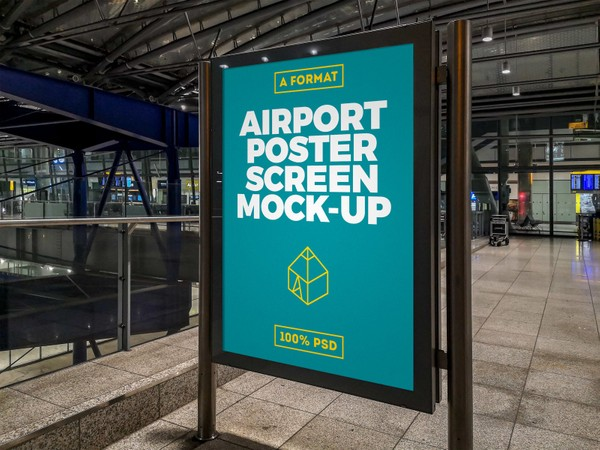 Free Airport Poster Screen Mock-Up 4
