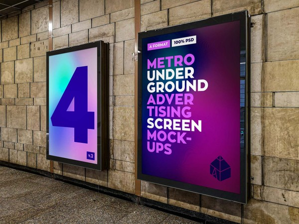 Metro Underground Advertising Screen Mock-Ups 5 (v.2)