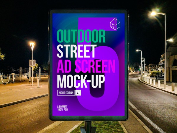 Outdoor Night Advertising Screen Mock-Ups