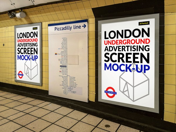 Free London Underground Advertising Screen Mock-Up 5