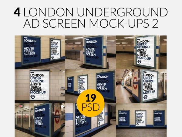4 London Underground Ad Screen Mock-Ups Bundle 2