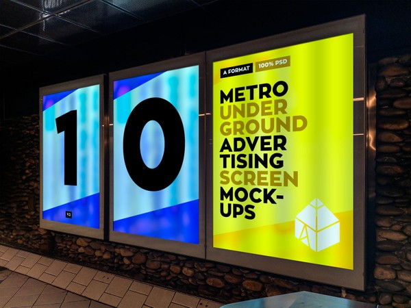 Metro Underground Advertising Screen Mock-Ups v.2