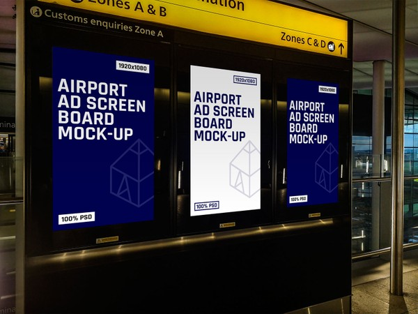 Free Airport Ad Screen Board Mock-Up