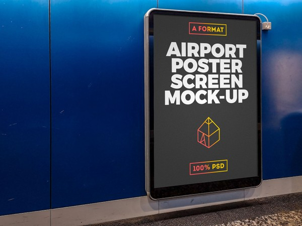 Free Airport Poster Screen Mock-Up 3