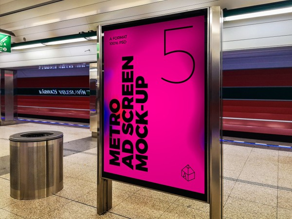 Metro Underground Advertising Screen Mock-Ups 6 (v.3)